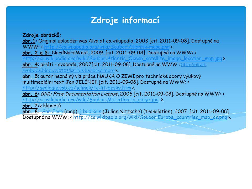 Zdroje informací Zdroje obrázků: obr.1: Original uploader was Alva at cs.wikipedia, 2003 [cit. 2011-09-08]. Dostupné na WWW:.http://cs.wikipedia.org/w