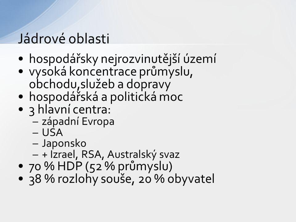 hospodářsky nejrozvinutější území vysoká koncentrace průmyslu, obchodu,služeb a dopravy hospodářská a politická moc 3 hlavní centra: –západní Evropa –