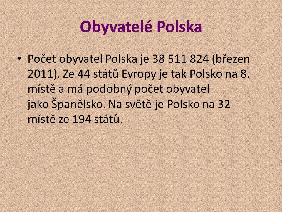 Obyvatelé Polska Počet obyvatel Polska je 38 511 824 (březen 2011). Ze 44 států Evropy je tak Polsko na 8. místě a má podobný počet obyvatel jako Špan