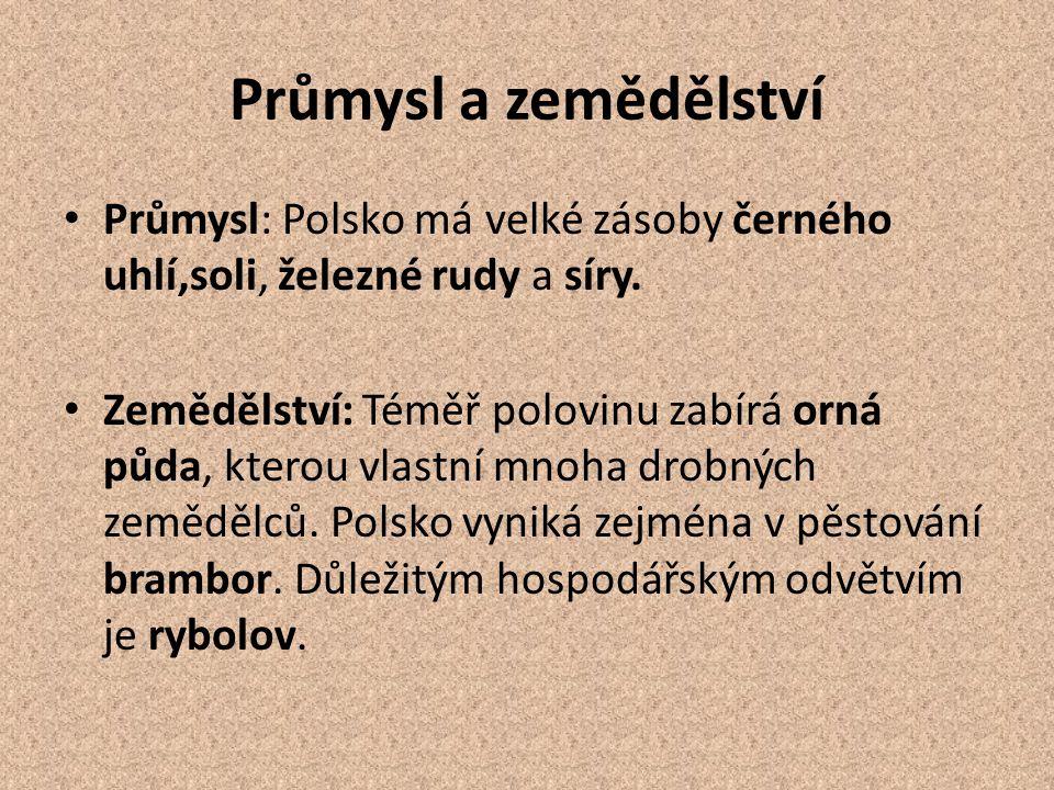 Průmysl a zemědělství Průmysl: Polsko má velké zásoby černého uhlí,soli, železné rudy a síry. Zemědělství: Téměř polovinu zabírá orná půda, kterou vla