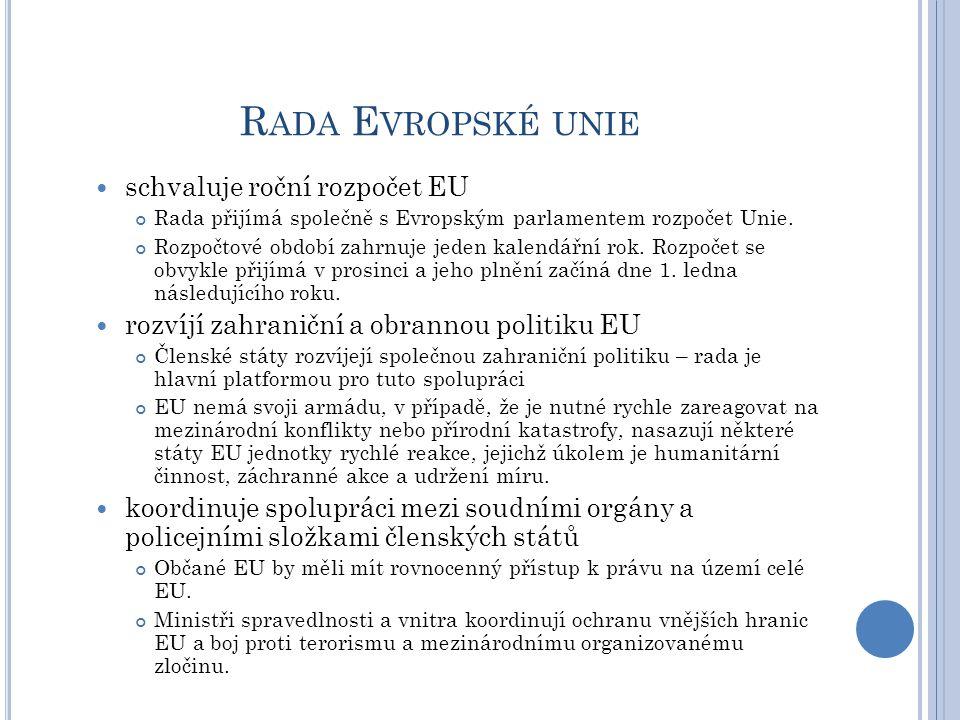 R ADA E VROPSKÉ UNIE schvaluje roční rozpočet EU Rada přijímá společně s Evropským parlamentem rozpočet Unie. Rozpočtové období zahrnuje jeden kalendá