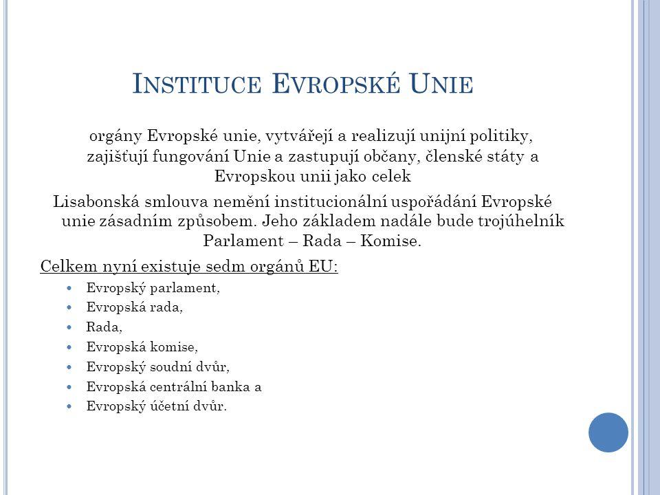 I NSTITUCE E VROPSKÉ U NIE orgány Evropské unie, vytvářejí a realizují unijní politiky, zajišťují fungování Unie a zastupují občany, členské státy a E