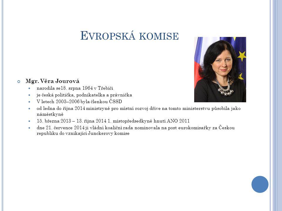 E VROPSKÁ KOMISE Mgr. Věra Jourová narodila se18. srpna 1964 v Třebíči je česká politička, podnikatelka a právnička V letech 2003–2006 byla členkou ČS