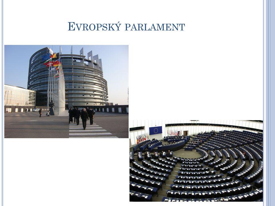 přímo volený orgán Evropské unie a jedním z největším demokratických shromáždění na světě sídlo Štrasburk, Brusel, Lucemburk 751 poslanců, volby jednou za 5 let (všechny členské státy) poslanci vytvářejí politické skupiny, aby mohli lépe hájit své postoje, v současnosti v parlamentu 7 skupin činnost parlamentu zakotvena v jednacím řádu, všechny parlamentní dokumenty zveřejňovány ve všech úředních jazycích EU každý poslanec má právo na jazyk, ve kterém se bude vyjadřovat Historie - 1952 založeno Evropské společenství uhlí a oceli (ESUO), které r.