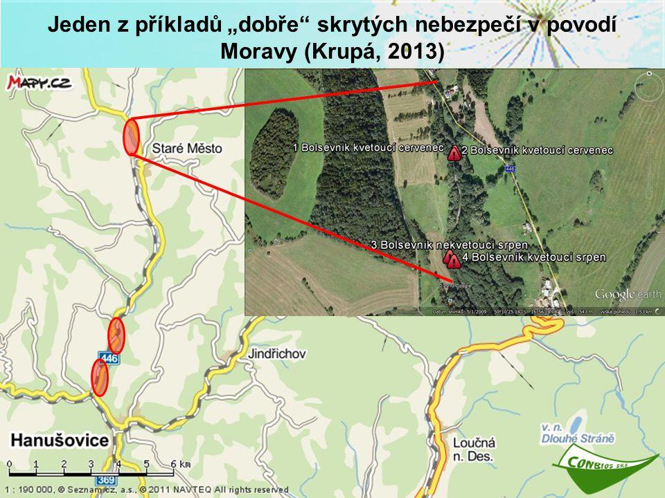 """Jeden z příkladů """"dobře"""" skrytých nebezpečí v povodí Moravy (Krupá, 2013)"""
