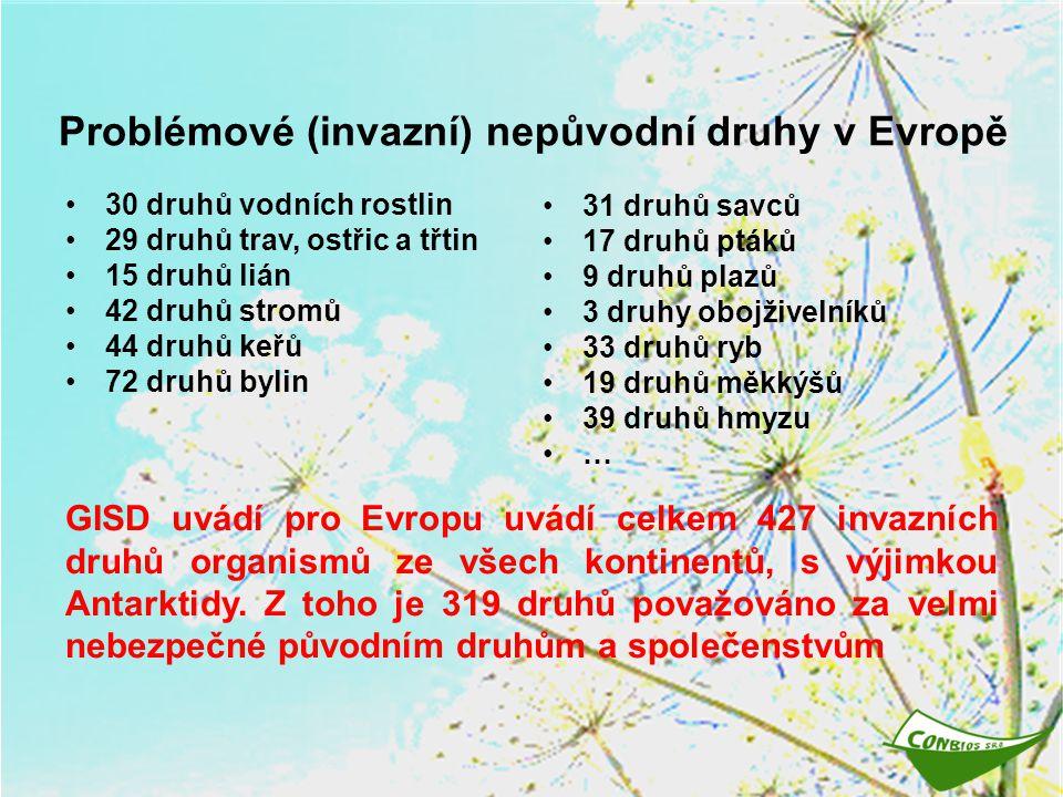 Problémové (invazní) nepůvodní druhy v Evropě 30 druhů vodních rostlin 29 druhů trav, ostřic a třtin 15 druhů lián 42 druhů stromů 44 druhů keřů 72 dr