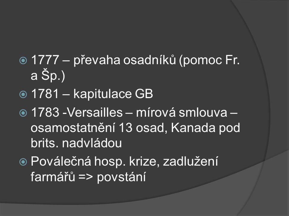  1777 – převaha osadníků (pomoc Fr.