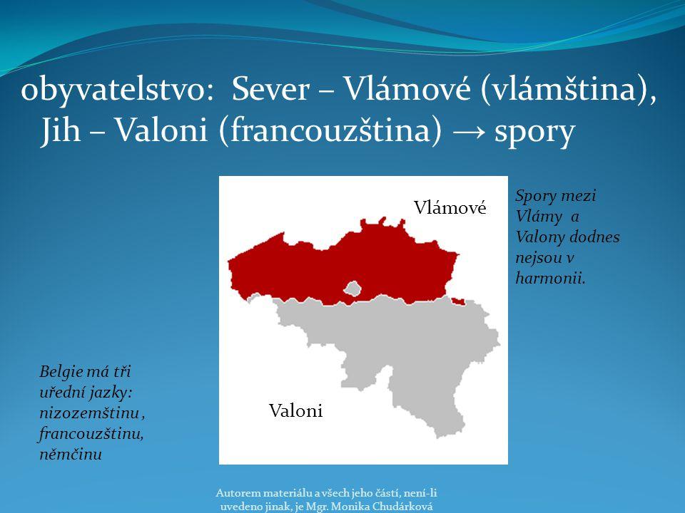 obyvatelstvo: Sever – Vlámové (vlámština), Jih – Valoni (francouzština) → spory Vlámové Spory mezi Vlámy a Valony dodnes nejsou v harmonii.