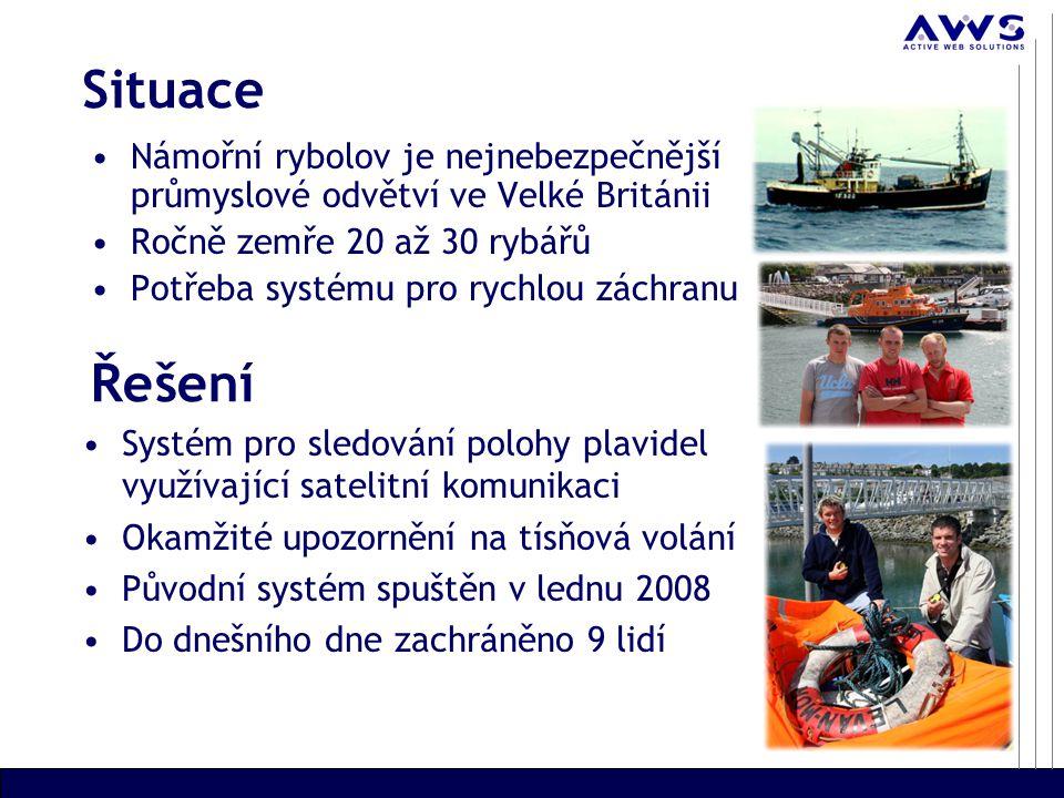 Situace Námořní rybolov je nejnebezpečnější průmyslové odvětví ve Velké Británii Ročně zemře 20 až 30 rybářů Potřeba systému pro rychlou záchranu Systém pro sledování polohy plavidel využívající satelitní komunikaci Okamžité upozornění na tísňová volání Původní systém spuštěn v lednu 2008 Do dnešního dne zachráněno 9 lidí Řešení
