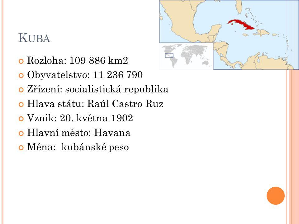K UBA Rozloha: 109 886 km2 Obyvatelstvo: 11 236 790 Zřízení: socialistická republika Hlava státu: Raúl Castro Ruz Vznik: 20. května 1902 Hlavní město:
