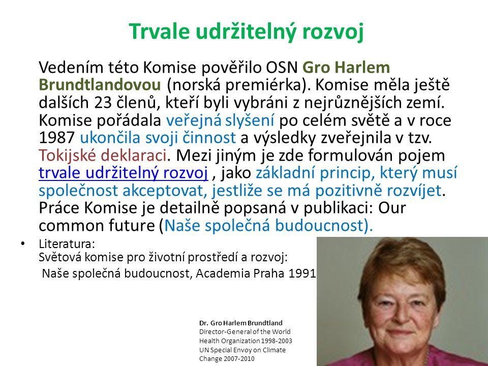 Vedením této Komise pověřilo OSN Gro Harlem Brundtlandovou (norská premiérka).