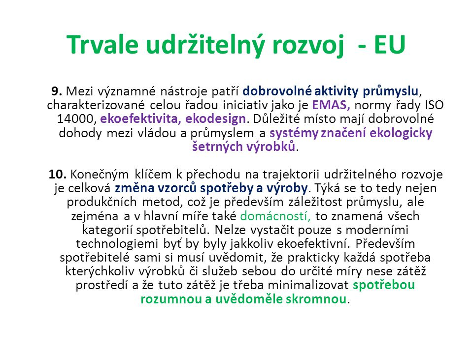 Trvale udržitelný rozvoj - EU 9.