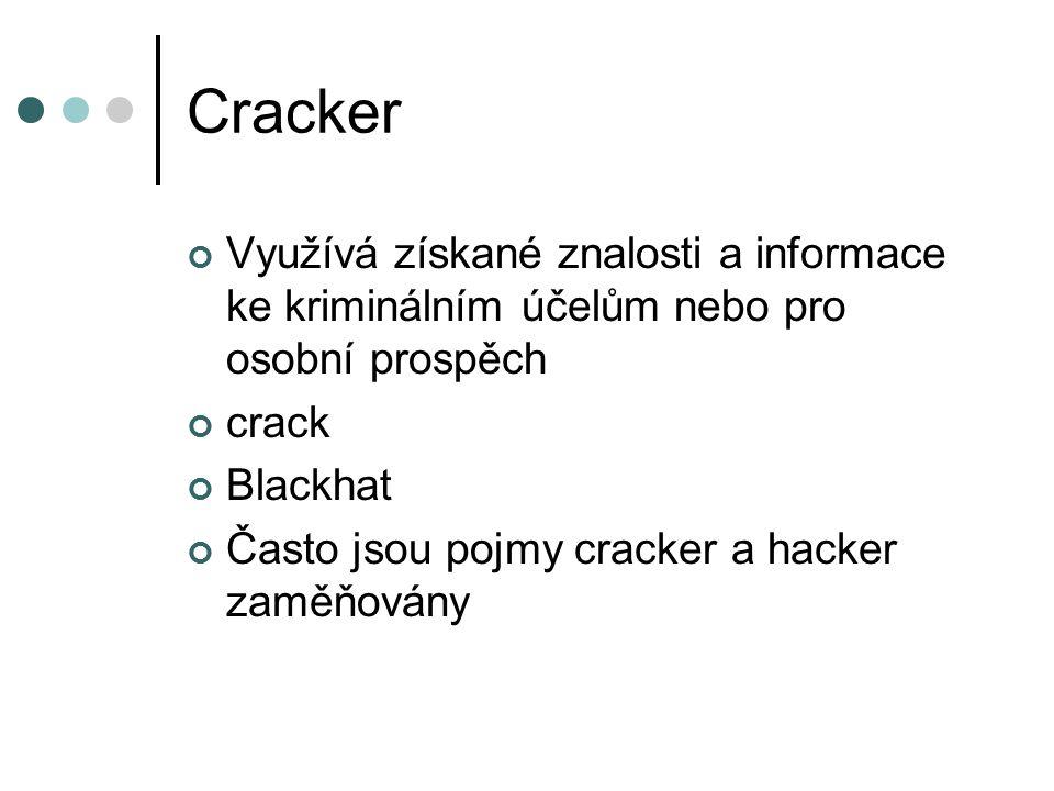 Cracker Využívá získané znalosti a informace ke kriminálním účelům nebo pro osobní prospěch crack Blackhat Často jsou pojmy cracker a hacker zaměňovány