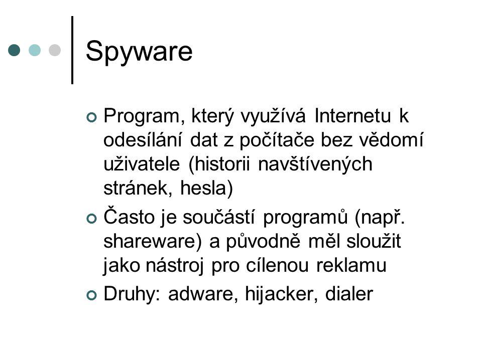 Spyware Program, který využívá Internetu k odesílání dat z počítače bez vědomí uživatele (historii navštívených stránek, hesla) Často je součástí programů (např.