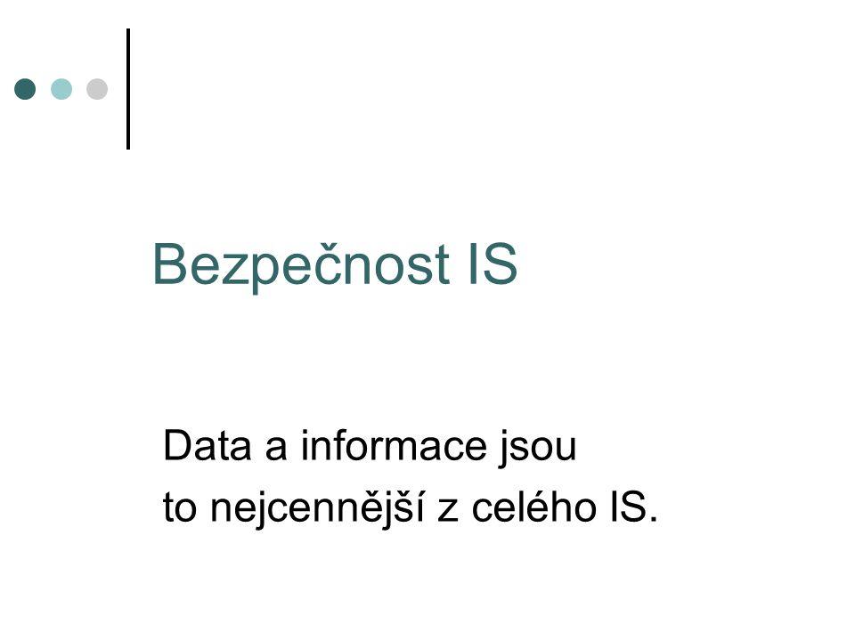 Bezpečnost IS Data a informace jsou to nejcennější z celého IS.