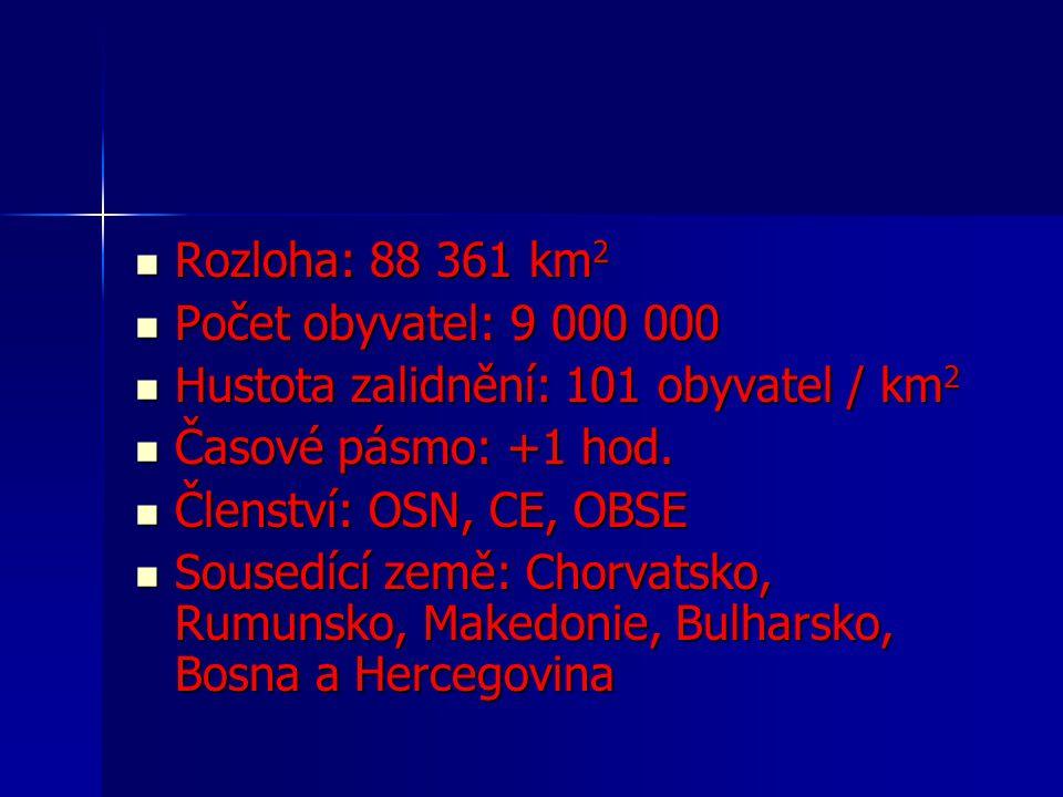 Rozloha: 88 361 km 2 Rozloha: 88 361 km 2 Počet obyvatel: 9 000 000 Počet obyvatel: 9 000 000 Hustota zalidnění: 101 obyvatel / km 2 Hustota zalidnění