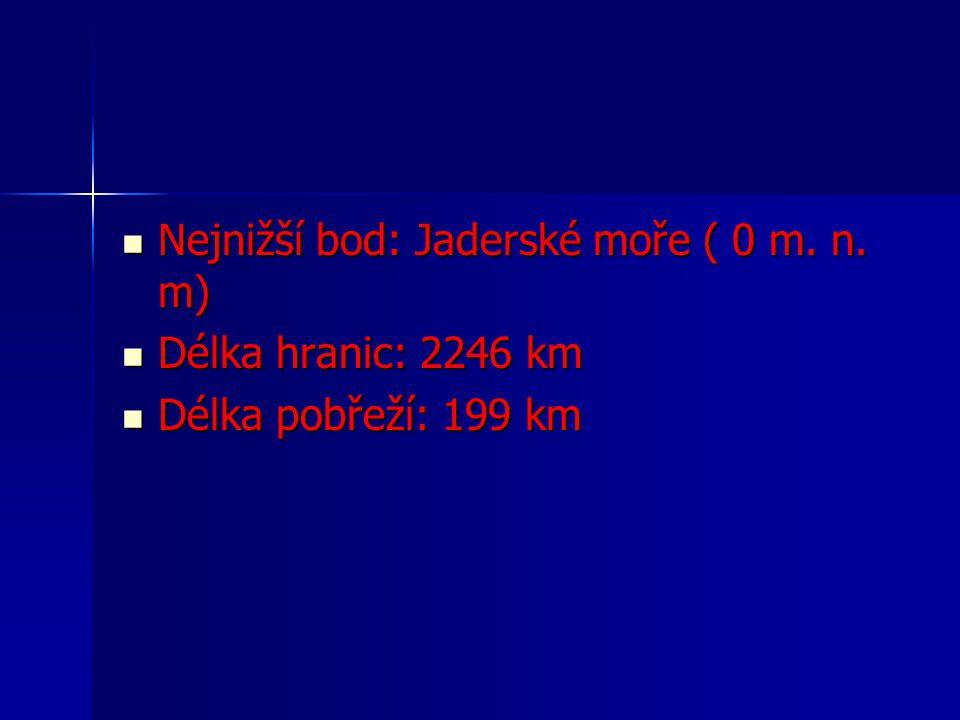 Nejnižší bod: Jaderské moře ( 0 m. n. m) Nejnižší bod: Jaderské moře ( 0 m. n. m) Délka hranic: 2246 km Délka hranic: 2246 km Délka pobřeží: 199 km Dé