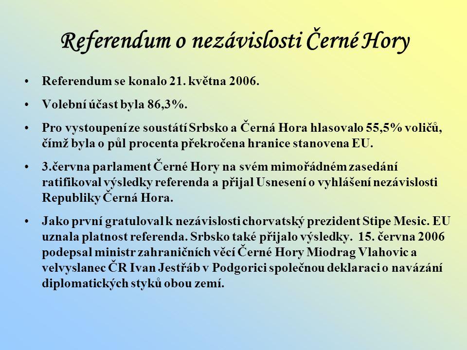 Srbsko a Černá Hora V roce 2002 Srbsko a Černá Hora uzavřely novou dohodu o spolupráci. Srbsko a Černá Hora vzniklo 4. února 2003 transformací Svazové