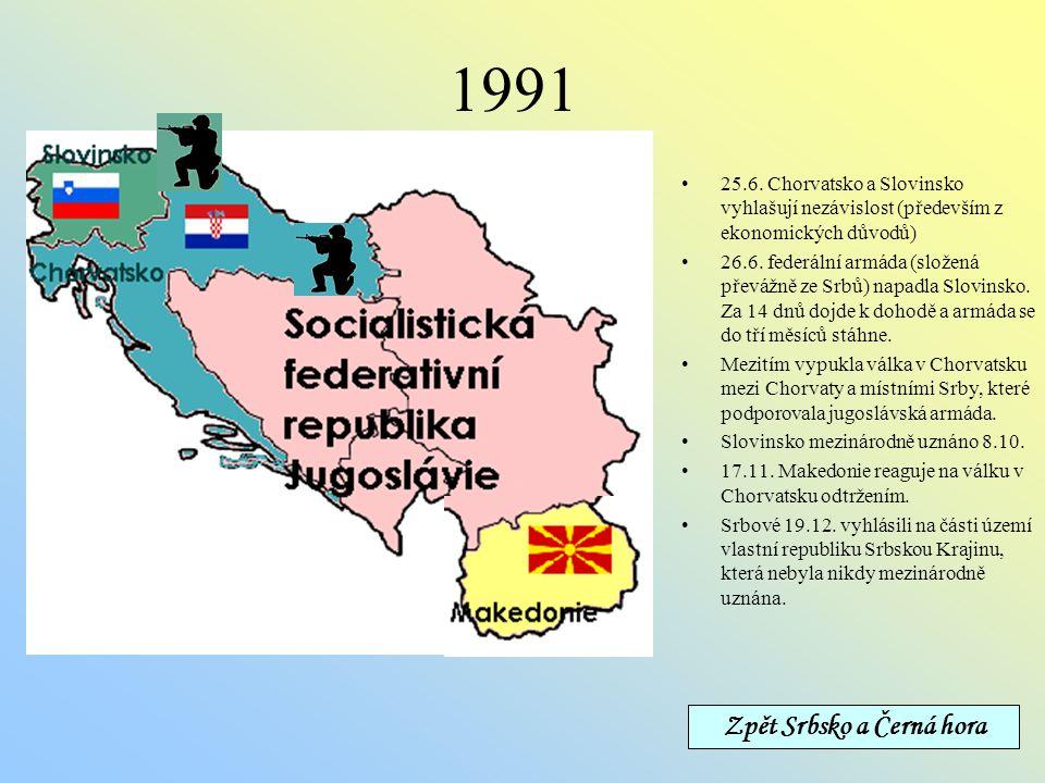 1963-1991 Federativní republika, složená z šesti republik (Slovinsko, Chorvatsko, Bosna a Hercegovina, Srbsko, Černá Hora a Makedonie)a dvou autonomní