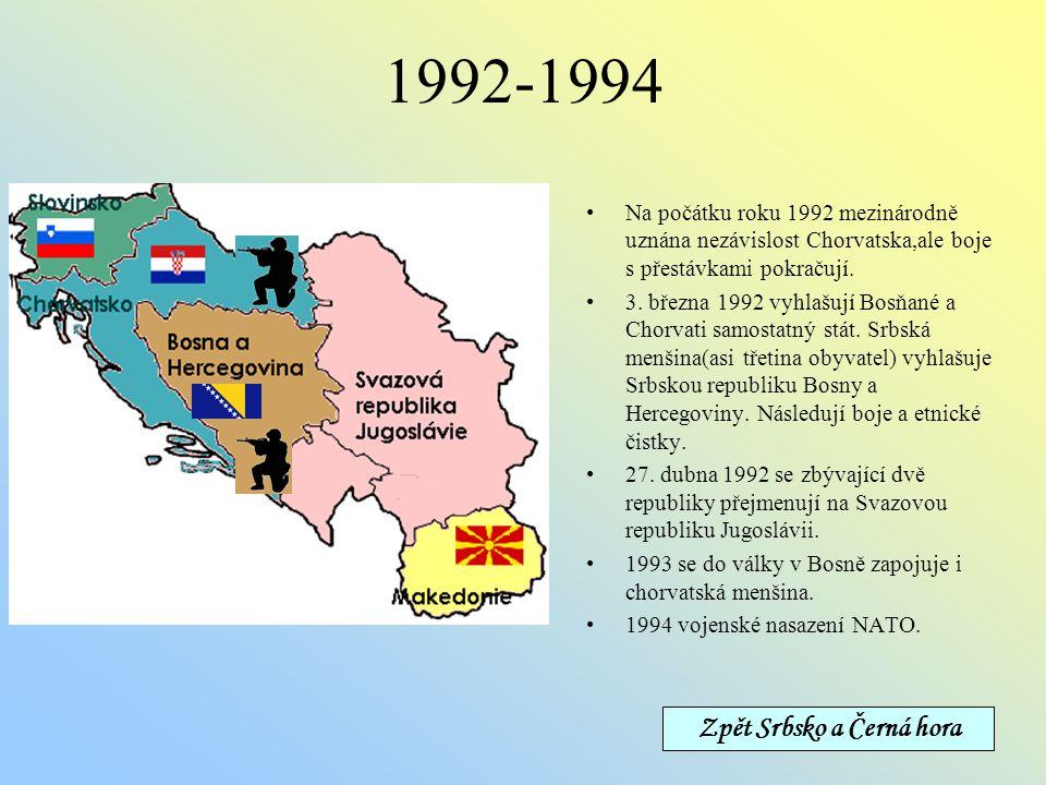 1991 25.6. Chorvatsko a Slovinsko vyhlašují nezávislost (především z ekonomických důvodů) 26.6. federální armáda (složená převážně ze Srbů) napadla Sl