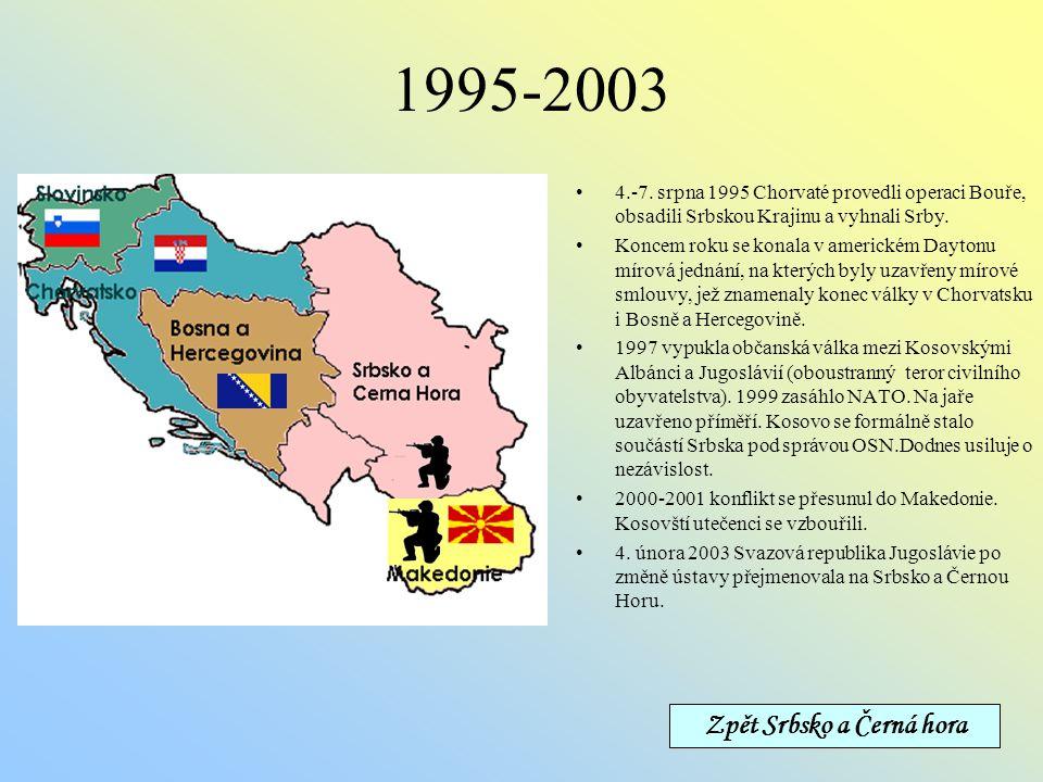 1992-1994 Na počátku roku 1992 mezinárodně uznána nezávislost Chorvatska,ale boje s přestávkami pokračují. 3. března 1992 vyhlašují Bosňané a Chorvati