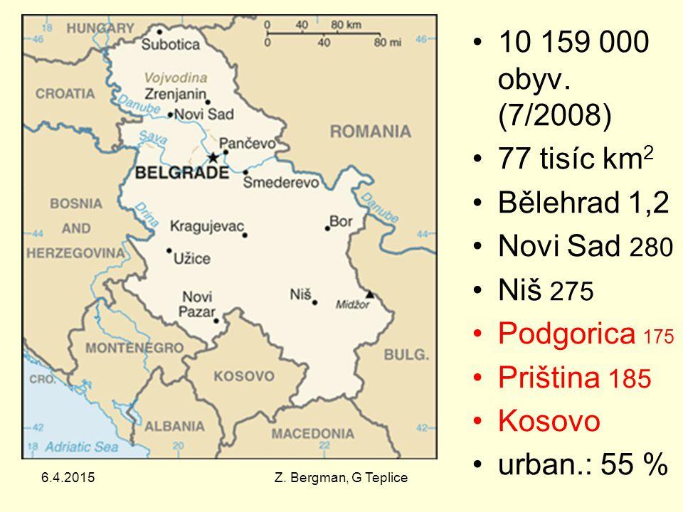 6.4.2015Z. Bergman, G Teplice 10 159 000 obyv. (7/2008) 77 tisíc km 2 Bělehrad 1,2 Novi Sad 280 Niš 275 Podgorica 175 Priština 185 Kosovo urban.: 55 %