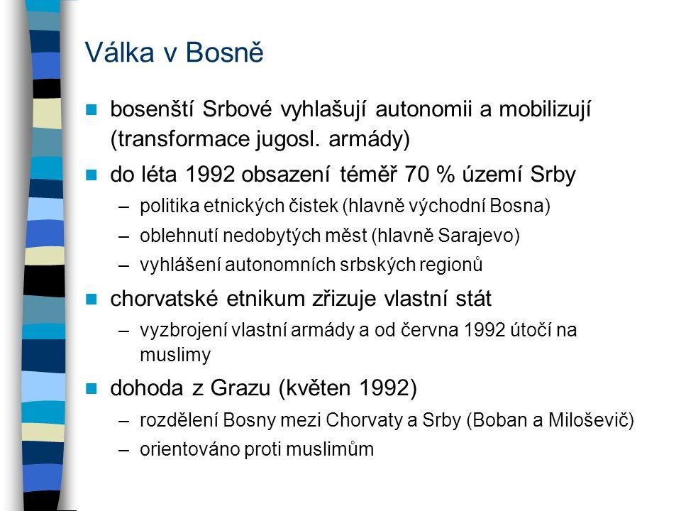Válka v Bosně bosenští Srbové vyhlašují autonomii a mobilizují (transformace jugosl.