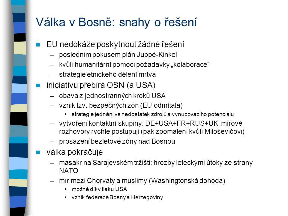 """Válka v Bosně: snahy o řešení EU nedokáže poskytnout žádné řešení –posledním pokusem plán Juppé-Kinkel –kvůli humanitární pomoci požadavky """"kolaborace –strategie etnického dělení mrtvá iniciativu přebírá OSN (a USA) –obava z jednostranných kroků USA –vznik tzv."""