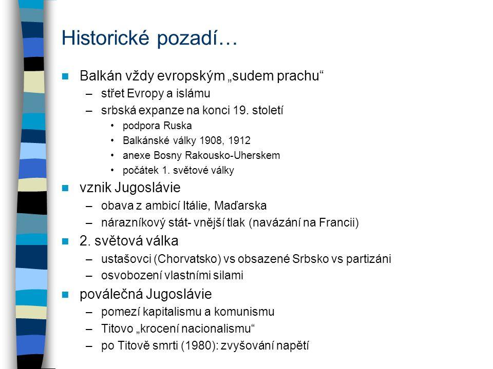 """Cesta ke konfliktu 1990- vyhrocení sporů ve federaci –výrazné zhoršení ekonomické situace –Slovinsko a Chorvatsko pro volnější svazek –Srbsko (Miloševič) pro centralizaci ovládnutí federálního předsednictví spory o podobu stranického systému role jugoslávské armády –většina důstojnického sboru srbská snaha o šokovou terapii (Markovič) –v praxi další eskalace napětí –SLOV+CR požadují nezávislost suspenze federálních zákonů konání nezávislých voleb referenda o nezávislosti už """"lehké rozbroje a útoky (""""první oběť války ) 25."""