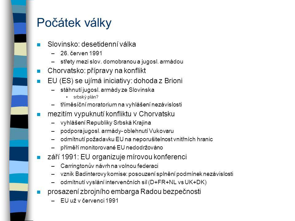 Počátek války Slovinsko: desetidenní válka –26.červen 1991 –střety mezi slov.