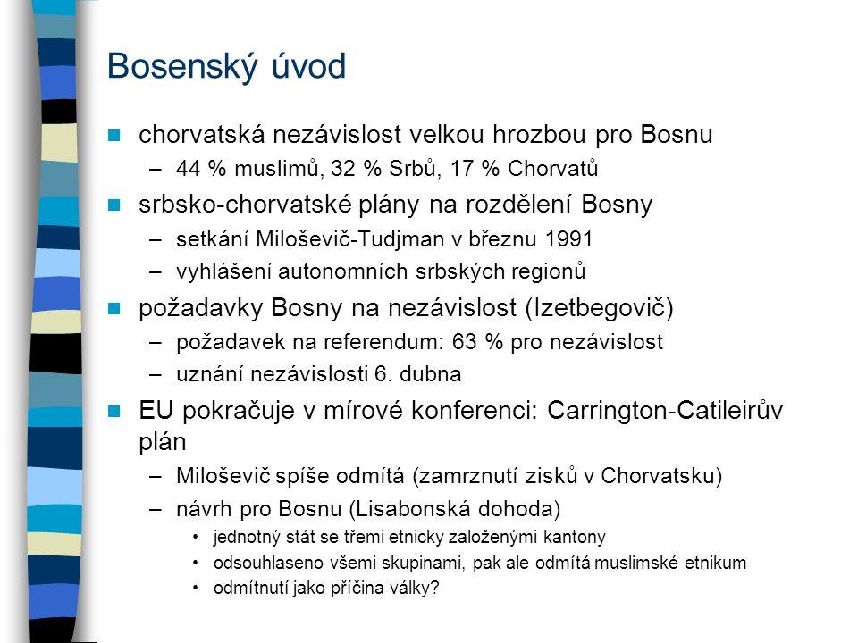 Bosenský úvod chorvatská nezávislost velkou hrozbou pro Bosnu –44 % muslimů, 32 % Srbů, 17 % Chorvatů srbsko-chorvatské plány na rozdělení Bosny –setkání Miloševič-Tudjman v březnu 1991 –vyhlášení autonomních srbských regionů požadavky Bosny na nezávislost (Izetbegovič) –požadavek na referendum: 63 % pro nezávislost –uznání nezávislosti 6.