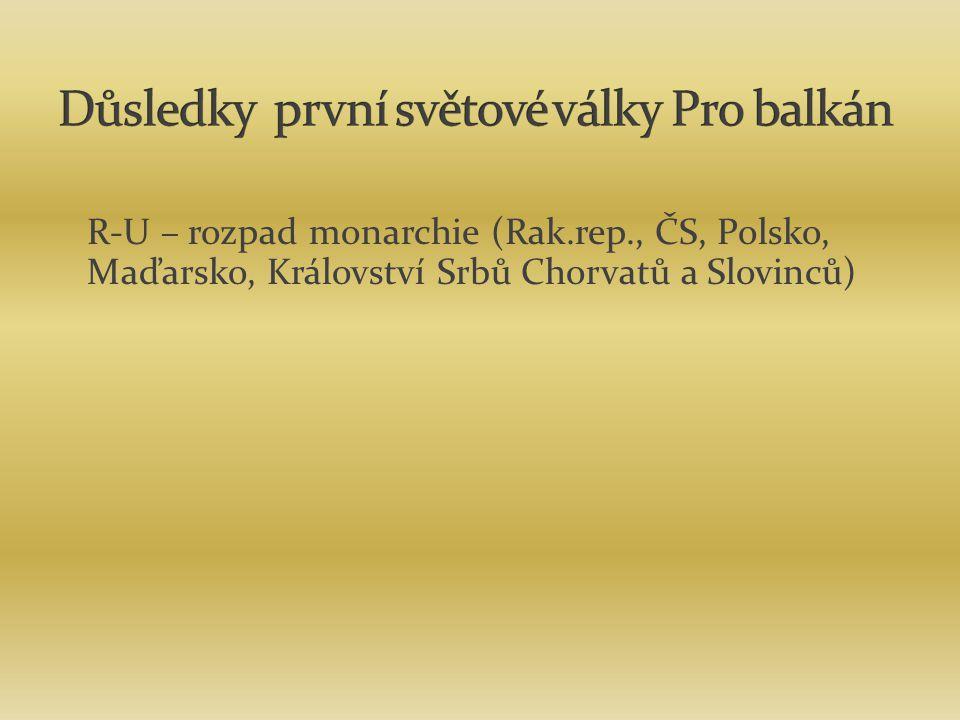 R-U – rozpad monarchie (Rak.rep., ČS, Polsko, Maďarsko, Království Srbů Chorvatů a Slovinců)