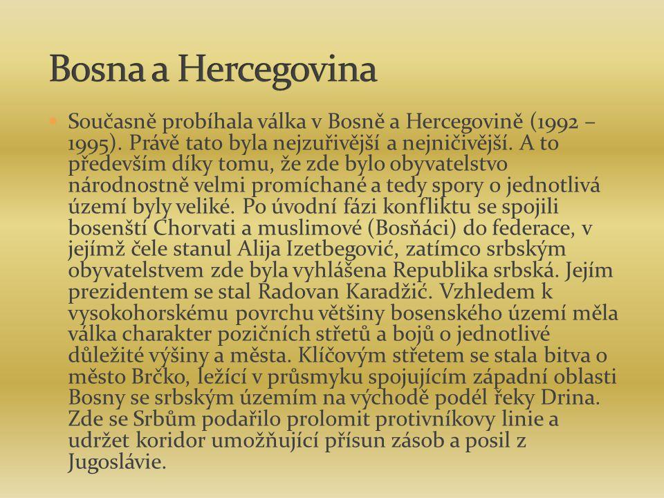 Současně probíhala válka v Bosně a Hercegovině (1992 – 1995). Právě tato byla nejzuřivější a nejničivější. A to především díky tomu, že zde bylo obyva