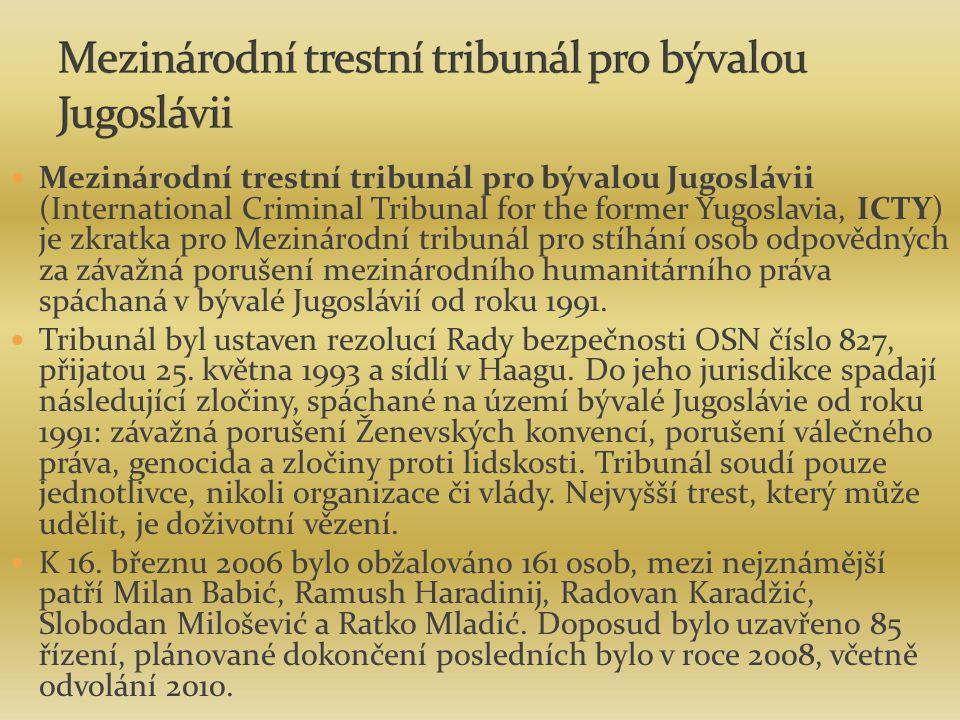 Mezinárodní trestní tribunál pro bývalou Jugoslávii (International Criminal Tribunal for the former Yugoslavia, ICTY) je zkratka pro Mezinárodní tribu