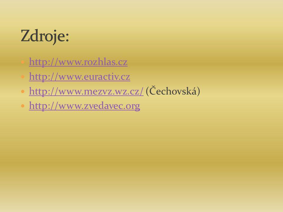 http://www.rozhlas.cz http://www.euractiv.cz http://www.mezvz.wz.cz/ (Čechovská) http://www.mezvz.wz.cz/ http://www.zvedavec.org