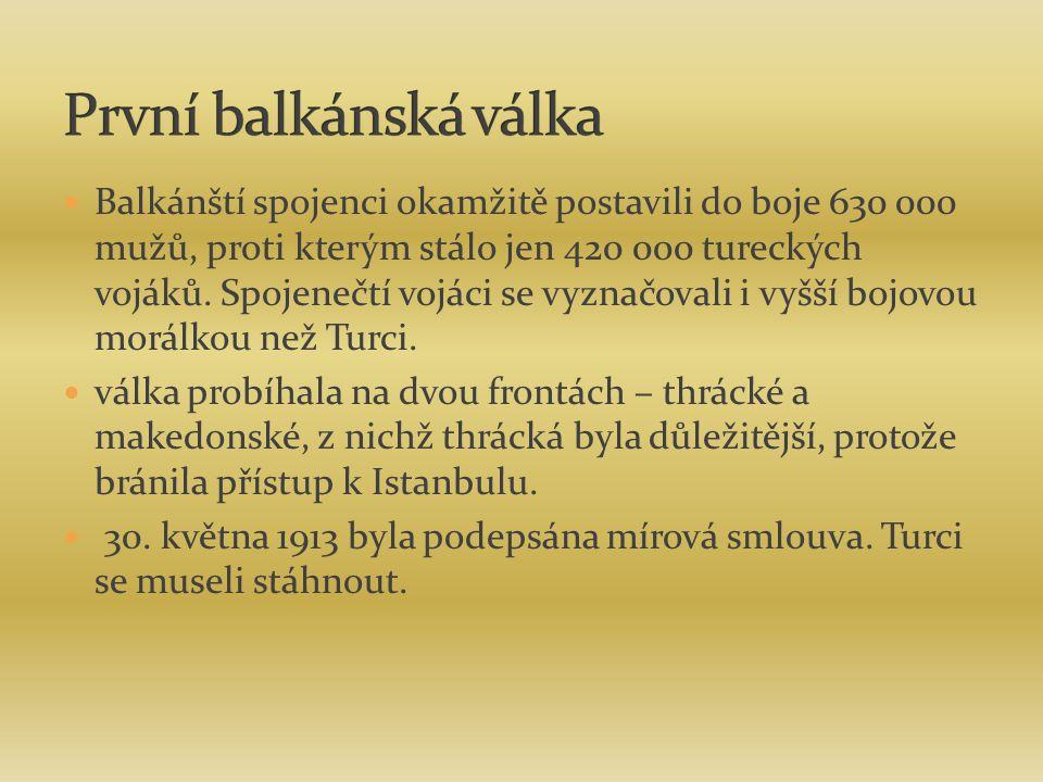 Balkánští spojenci okamžitě postavili do boje 630 000 mužů, proti kterým stálo jen 420 000 tureckých vojáků. Spojenečtí vojáci se vyznačovali i vyšší