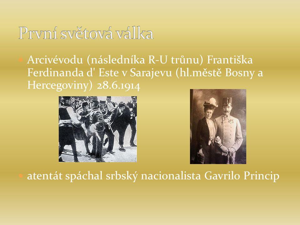 Arcivévodu (následníka R-U trůnu) Františka Ferdinanda d' Este v Sarajevu (hl.městě Bosny a Hercegoviny) 28.6.1914 atentát spáchal srbský nacionalista