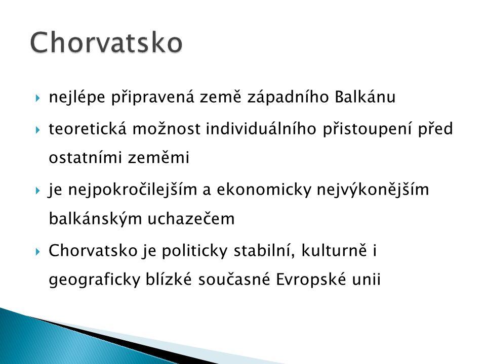 nejlépe připravená země západního Balkánu  teoretická možnost individuálního přistoupení před ostatními zeměmi  je nejpokročilejším a ekonomicky nejvýkonějším balkánským uchazečem  Chorvatsko je politicky stabilní, kulturně i geograficky blízké současné Evropské unii