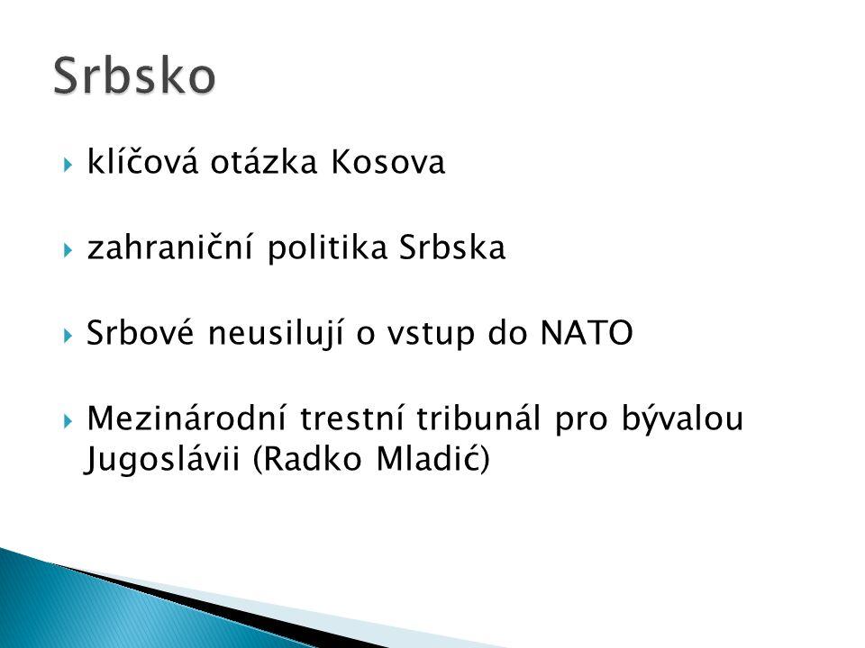  klíčová otázka Kosova  zahraniční politika Srbska  Srbové neusilují o vstup do NATO  Mezinárodní trestní tribunál pro bývalou Jugoslávii (Radko Mladić)