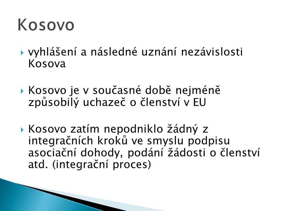  vyhlášení a následné uznání nezávislosti Kosova  Kosovo je v současné době nejméně způsobilý uchazeč o členství v EU  Kosovo zatím nepodniklo žádný z integračních kroků ve smyslu podpisu asociační dohody, podání žádosti o členství atd.