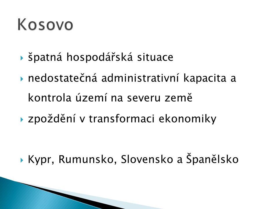  špatná hospodářská situace  nedostatečná administrativní kapacita a kontrola území na severu země  zpoždění v transformaci ekonomiky  Kypr, Rumunsko, Slovensko a Španělsko