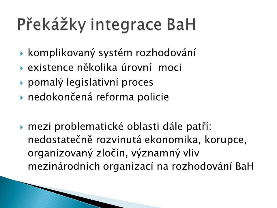  komplikovaný systém rozhodování  existence několika úrovní moci  pomalý legislativní proces  nedokončená reforma policie  mezi problematické oblasti dále patří: nedostatečně rozvinutá ekonomika, korupce, organizovaný zločin, významný vliv mezinárodních organizací na rozhodování BaH