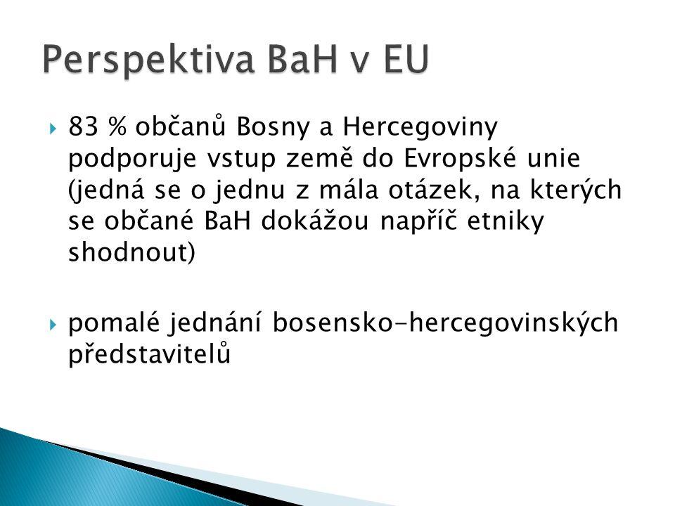  83 % občanů Bosny a Hercegoviny podporuje vstup země do Evropské unie (jedná se o jednu z mála otázek, na kterých se občané BaH dokážou napříč etniky shodnout)  pomalé jednání bosensko-hercegovinských představitelů