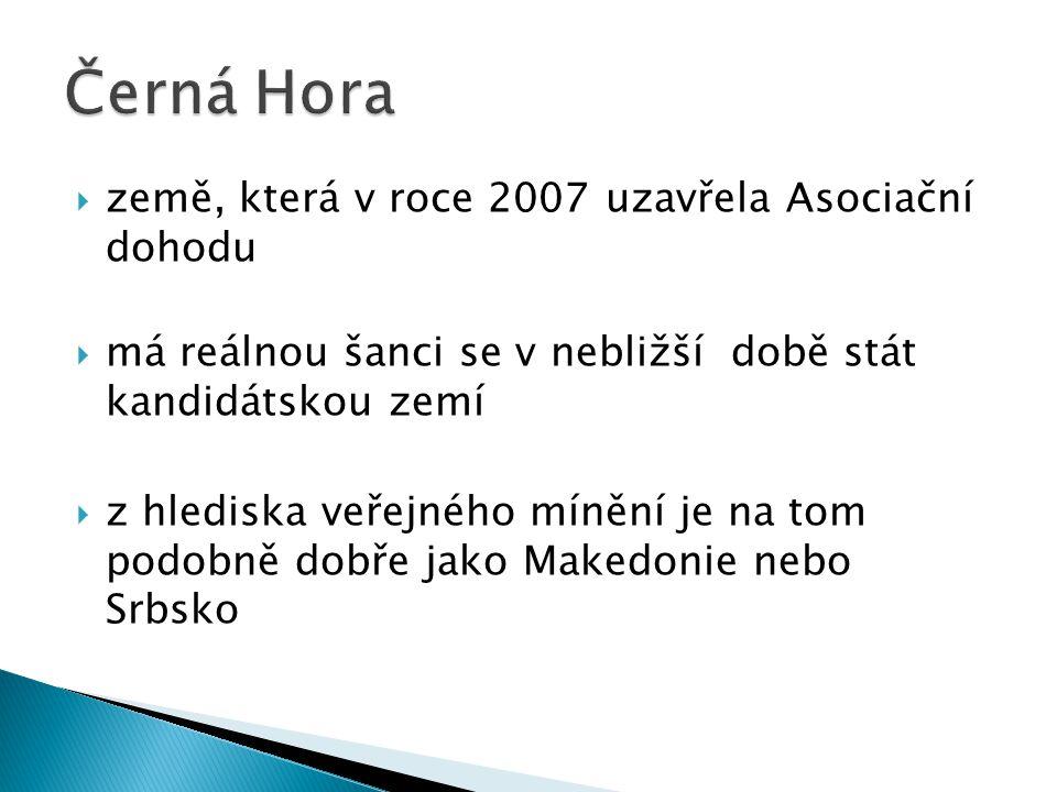  země, která v roce 2007 uzavřela Asociační dohodu  má reálnou šanci se v nebližší době stát kandidátskou zemí  z hlediska veřejného mínění je na tom podobně dobře jako Makedonie nebo Srbsko
