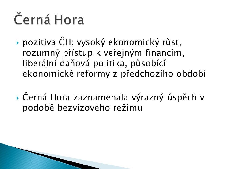  pozitiva ČH: vysoký ekonomický růst, rozumný přístup k veřejným financím, liberální daňová politika, působící ekonomické reformy z předchozího období  Černá Hora zaznamenala výrazný úspěch v podobě bezvízového režimu