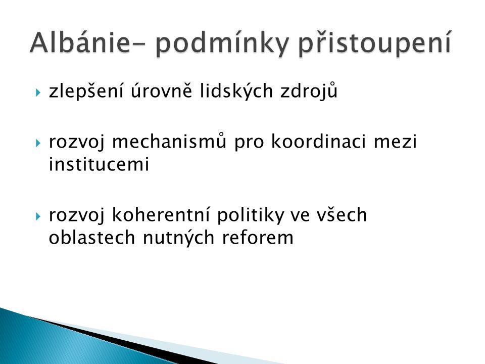  zlepšení úrovně lidských zdrojů  rozvoj mechanismů pro koordinaci mezi institucemi  rozvoj koherentní politiky ve všech oblastech nutných reforem