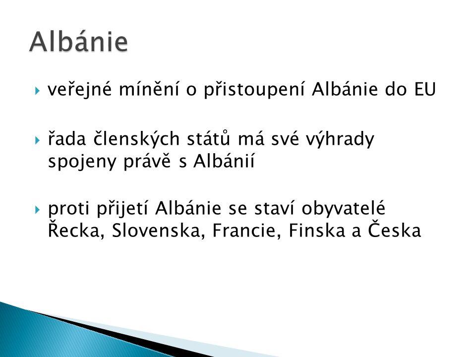 veřejné mínění o přistoupení Albánie do EU  řada členských států má své výhrady spojeny právě s Albánií  proti přijetí Albánie se staví obyvatelé Řecka, Slovenska, Francie, Finska a Česka