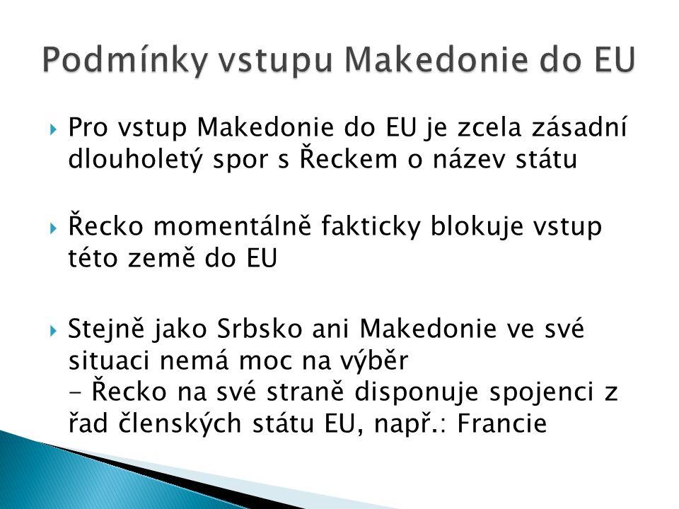  Pro vstup Makedonie do EU je zcela zásadní dlouholetý spor s Řeckem o název státu  Řecko momentálně fakticky blokuje vstup této země do EU  Stejně jako Srbsko ani Makedonie ve své situaci nemá moc na výběr - Řecko na své straně disponuje spojenci z řad členských státu EU, např.: Francie