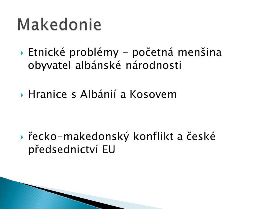  Etnické problémy - početná menšina obyvatel albánské národnosti  Hranice s Albánií a Kosovem  řecko-makedonský konflikt a české předsednictví EU