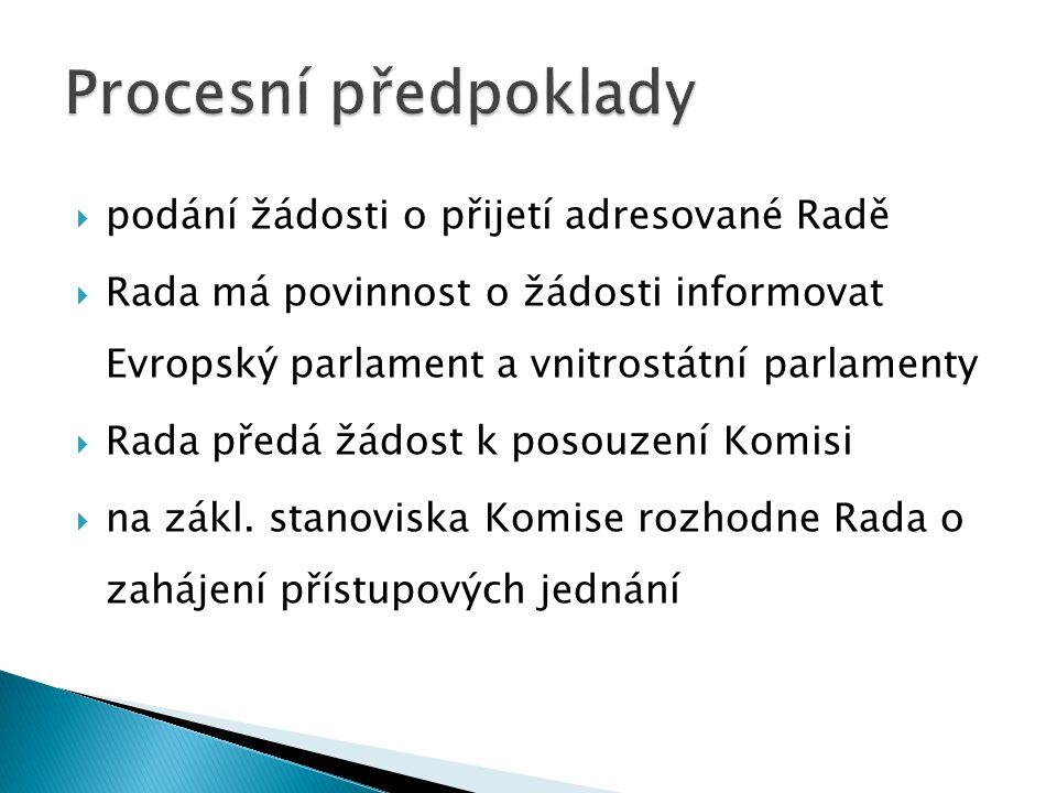  souhlas Evropského parlamentu, který rozhoduje o přistoupení absolutní většinou  v přístupové smlouvě stanoveny podmínky přistoupení  smlouva musí být ratifikována všemi členskými státy a žadatelem  po nabytí její platnosti – členem EU
